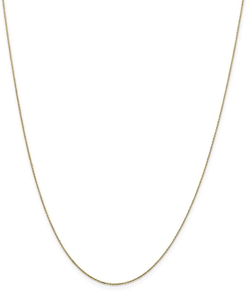 10k Yellow Gold .6mm Solid Diamond-Cut Cable Chain Necklace - with Secure Lobster Lock Clasp