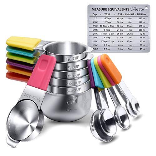 Tazas y cucharas medidoras, 13 piezas de acero inoxidable más tabla de conversión