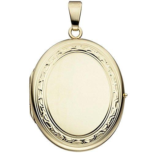 Medaillon Amulett Anhänger zum Öffnen 585 Gold Gelbgold teilmattiert