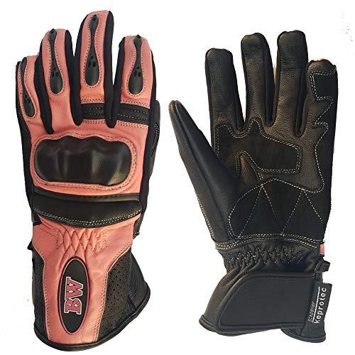 Guanti da moto in pelle di capra da uomo e donna, protezione integrale per tutte le stagioni, Donna, Motorbike-Gloves-Pink-M, rosa, M