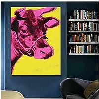 カラフルな牛アンディウォーホル動物の絵画壁アートリビングルームの抽象的な写真モダンなプリントポスター80x120cmフレームレス