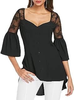 Leomodo Sweetheart Neck Bell Sleeve Women Blouse Black