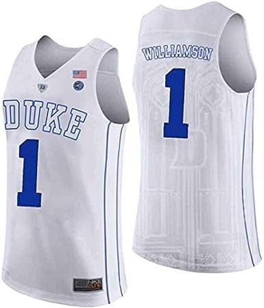 Duke 1# Zion Williamson Maglietta da basket da uomo NCAA XL ricamata Swingman traspirante e resistente alle intemperie Maglietta per fan. Nero