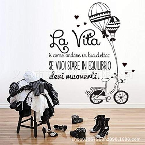 JXLLCD fiets ballon Engels patroon sticker romantische stijl patroon sticker decoratie slaapkamer meisjes kamer muursticker 57X70cm