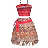 Lito Angels Niñas Disfraces de Princesa Moana Vaiana con Conjunto de Falda de Vestir con Collar Disfraces de Halloween Talla 7 años