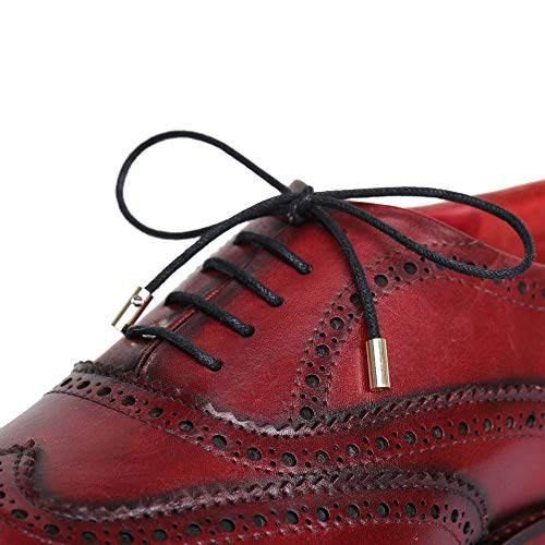 Lethato Brogue Oxford Handcrafted Men's Genuine Leather Lace up Dress Shoes with Golden Color Metal Aglets Shoelace Tips – Wine Red