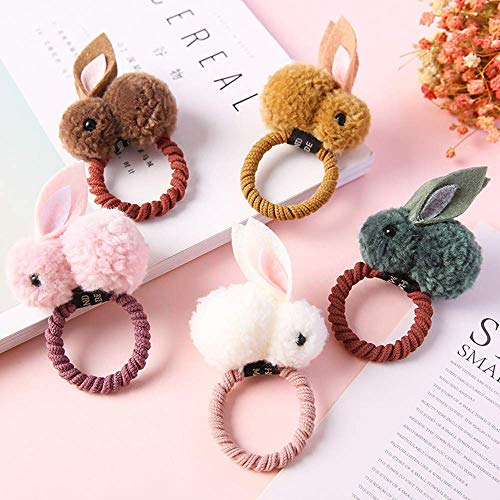 5 Pack Girls Hair Scrunchies, Stuffed Rabbit Hair Elastics Ties Ropes Hair Bands Coils Ponytail Holder For Toddler Baby Kid, Easter Bunny Decorations, Multicolor
