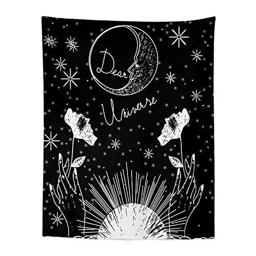 Le Soleil Lune Étoile Boussoletapisserie Biack Tenture Murale Astrologie Divination Couvre-Lit Tapis De Plage Tarot