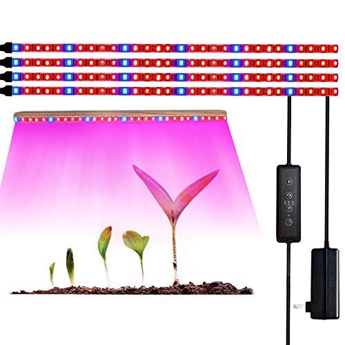 Striscia luminosa per piante, barre luminose a LED da 40w con accensione e spegnimento automatici, lampada da coltivazione a 120 LED per piante da interno, spettro completo rosso e blu con telecomando