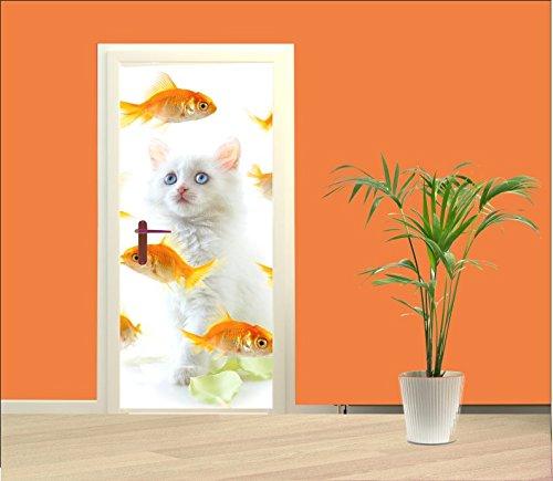 wodtke-werbetechnik deurbehang kat met gouden vissen