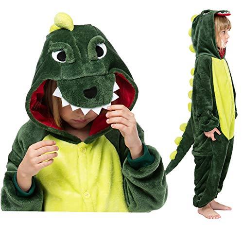 Seawhisper Dinosaurier Kostüm Kinder Dino Pyjamas Tier Jumpsuit Kostüm Mädchen und Jungen Faschingskostüme 134 140