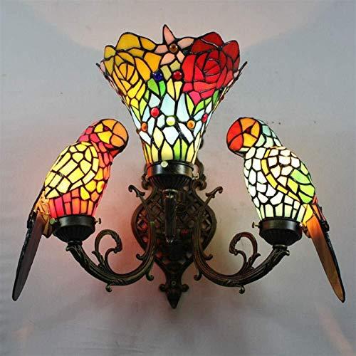 LONGJUAN-C Loro Flor Vintage Europeo Lámpara Pared Apliques de Pared Cristal Lámpara Pared de Estilo Tiffany Luz romántico clásico para Dormitorio, salón