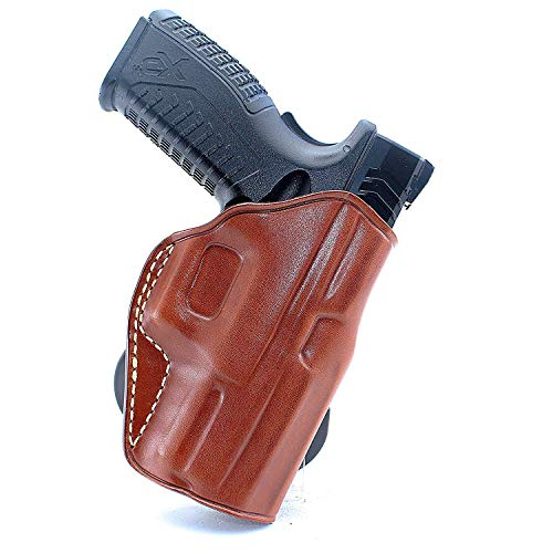 """MASC Premium Leather OWB Paddle Holster Open Top Fits Springfield XDE 45 ACP 3.3"""" BBL, Right Hand Draw, Brown Color #1418#"""