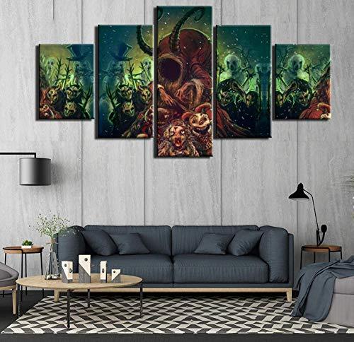 JYCXOZ Cuadro de póster 5 Piezas imágenes de Pared de Terror de Calavera para Sala de Estar Arte de Pared Lienzo Pintura Carteles e Impresiones
