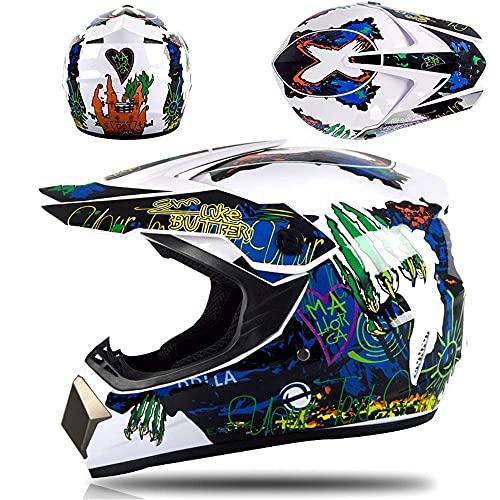 WAHA Casco de Motocross Casco Integral para Motocicleta con Visera para el Sol Adecuado para Todoterreno y Carreras,con Casco, Gafas, máscara, Guantes adecuados para Adultos y niños,M