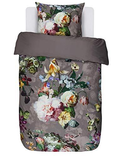Essenza Parure de lit en satin de coton mako Motif fleur Taupe, Coton, taupe, 135 x 200 cm / 80 x 80 cm
