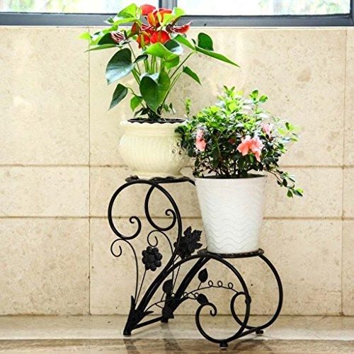 Ali@ Salle de séjour à plusieurs étages de cadre de fleur de style européen avec étagère de fleur de terrasse de plancher (Couleur : NOIR)