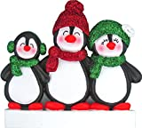 Personalized Penguin Family of 3 Christmas Tree Ornament 2020 - Happy Parents Children Friends Glitter Playful Hat Snow Cute Earmuffs Traditional Winter - Free Customization (Three)