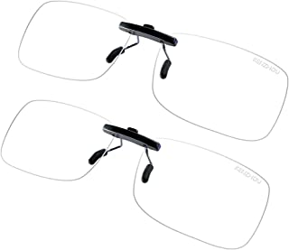 K KENZHOU Blue Light Blocking Computer Glasses Unisex Anti Blue Ray Computer Clip-on Glasses 2 Pack (Transparent)