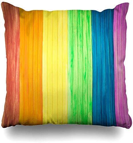 Mesllings Gooi Kussenslopen Regenboog Blauw Gay Oud Rustiek Houten Board Homoseksuele Kleuren Biseksueel Hek Grafisch Hardhout Home Decor Kussensloop Kussensloop, 45X45Cm