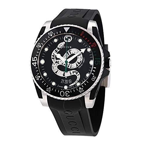 Gucci Uhr Dive 40 mm, Zinn und Gummi schwarz Stahl YA136323