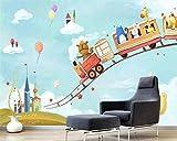Mural 3D Pared,Viaje En Tren De Cuento De Hadas De Dibujos Animados,Pintura Mural Personalizada 3D En Pared De Ladrillo Foto Fondo Niños Adultos Habitación Fondo De Pantalla Studio Props,(10.1X