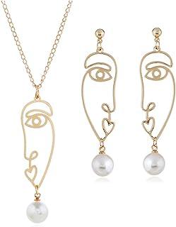 HAIA7K4K Face orecchini collana Hollow Pearl Penzolare ciondolo catena personalità regali gioielli per feste e matrimoni