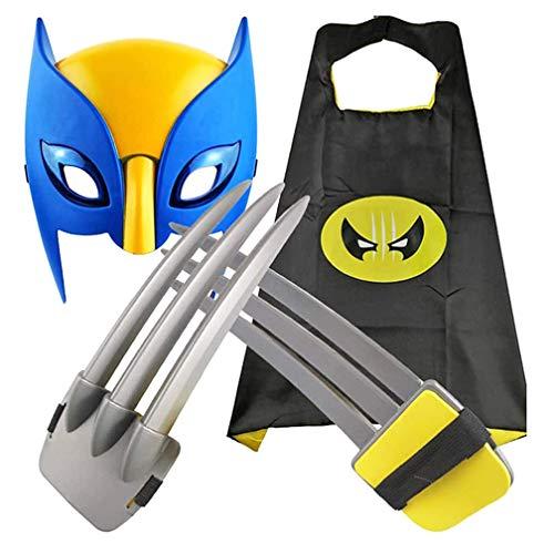 YA&NG ABS Plastic Wolverine Claws Prop Toys Set, X-Men Wolf Claws Mscara De Ojos Brillantes Capa, Pelcula para Nios Cosplay Accesorios para Juegos De rol Accesorios De Disfraces De Halloween