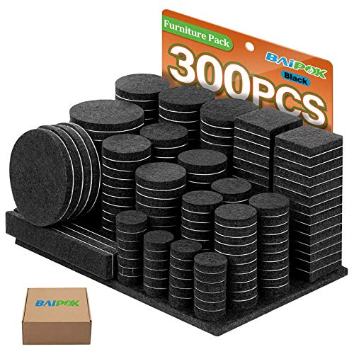 Furniture Pads 300 Pieces Felt Furniture Pads Premium Huge Pack, BAIPOK 5mm Thick Self Adhesive Anti Scratch Floor Protectors for Desk Chair Legs and 60 Rubber Bumpers for Hardwood Tile Floor