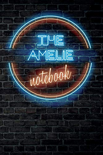 The AMELIE Notebook: Vintage Blank Ruled Personalized & Custom Neon Sign Name Dotted Notebook Journal for Girls & Women. Wall Background. Funny Desk ... Supplies, Birthday, Christmas Gift for Women.