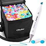 Ohuhu Alcohol Art Markers, Double Tipped Alcohol-based Coloring Marker Set for Kids Adults Coloring Sketching Illustration, 120 Unique Colors + 1 Alcohol Marker Blender + 1 Marker Case, Chisel & Fine