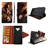Wirelesspulse Brown Horse Wallet Folio Case for Samsung Note 9 Fashion Flip PU Leather Cover Card Cash Slots & Stand