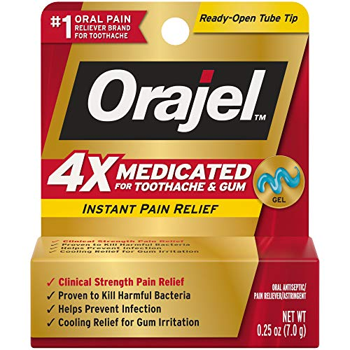 Orajel 4X for Toothache & Gum Pain Severe Gel Tube, No Color, 0.25 Ounce