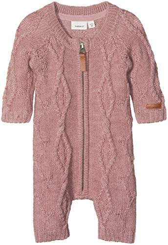 NAME IT Baby-Mädchen NBFWRILLA Wool LS Knit Suit NOOS Spieler, Rosa (Woodrose Woodrose), 68
