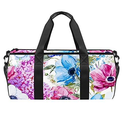 Bolsa de gimnasio con flores blancas tropicales para hombres y mujeres, bolsa de viaje con bolsillo impermeable