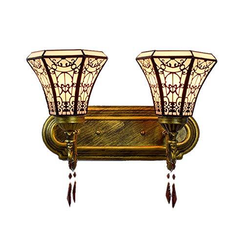 SHPEHP, Tiffany, lámpara de pared europea de hierro forjado, lámpara de pared con vitrales retro, lámpara de pared de doble cabeza del porche del pasillo del patio-double