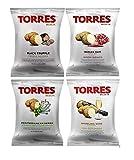 Torres Spanish Papas Fritas Potato Chips 4 Flavor Variety Pack Black Truffle, Mediterranean Herb, Sparkling Wine, Iberico Ham (4)