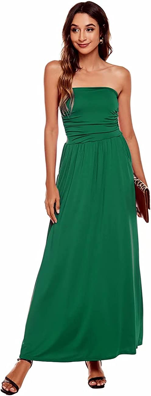 LIVECLOTH Women's Strapless Casual Beach Party Floral Solid Maxi Skirt Dress with Pockets