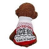 Pull Chien Chiot Doux Mignon Chic Mode Manteau Petite Taille Vestes Pas Cher Hiver Chaud VêTement Sweater pour Animaux De Compagnie (XS, Rouge)