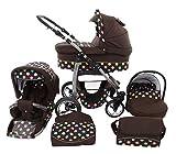 Passeggino Trio 3in1 2in1 Isofix Ovetto Compatto D-Deluxe by SaintBaby marrone & puntini colorati 2in1 Senza Ovetto