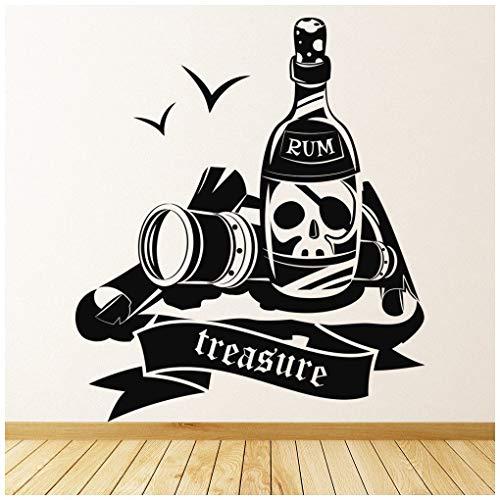 azutura Piratenschatz, Rum & Schädel Wandtattoo verfügbar in 5 Größen und 25 Farben EIS Blau