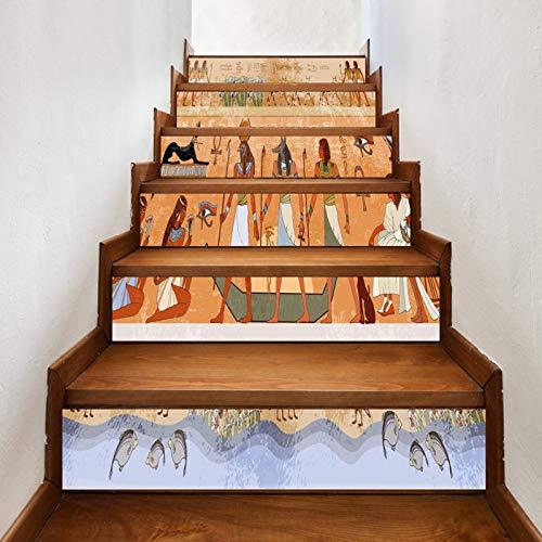 A.Monamour Pegatinas de Escalera Autoadhesivos 3D Dioses Del Antiguo Egipto Y Faraones Egipcios Jeroglíficos Vinilo...