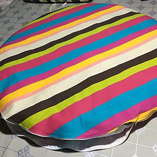 Yxxc Cojín de Asiento de Piso de Tatami extraíble versátil, cojín de Silla de Papasan de Lino Grueso, cómodo cojín de Silla de Huevo Colgante Cojines de Silla de Hamaca Rainbow Bar D120cm