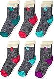 Carhartt girls Camp Crew Sock-6 Pair Pack Casual Sock, Natural, Pink, Blue, Green, Purple, Shoe Size 8-11 US