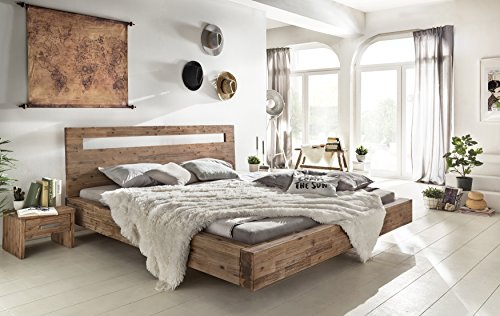 Woodkings® Holz Bett 180x200 Marton Doppelbett massiv Holz Schlafzimmer Möbel Doppelbett Schwebebett rustikale Naturmöbel Echtholzmöbel (Akazie gebürstet)