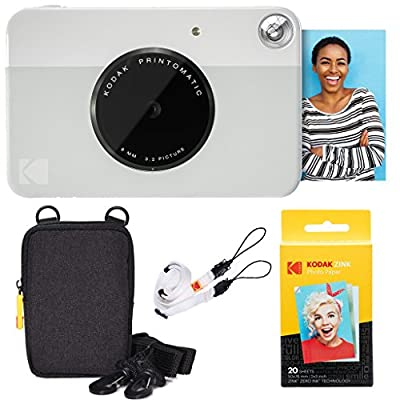 KODAK Printomatic Instant Camera Basic Bundle + Zink Paper (20 Sheets) + Deluxe Case + Comfortable Neck Strap by Kodak