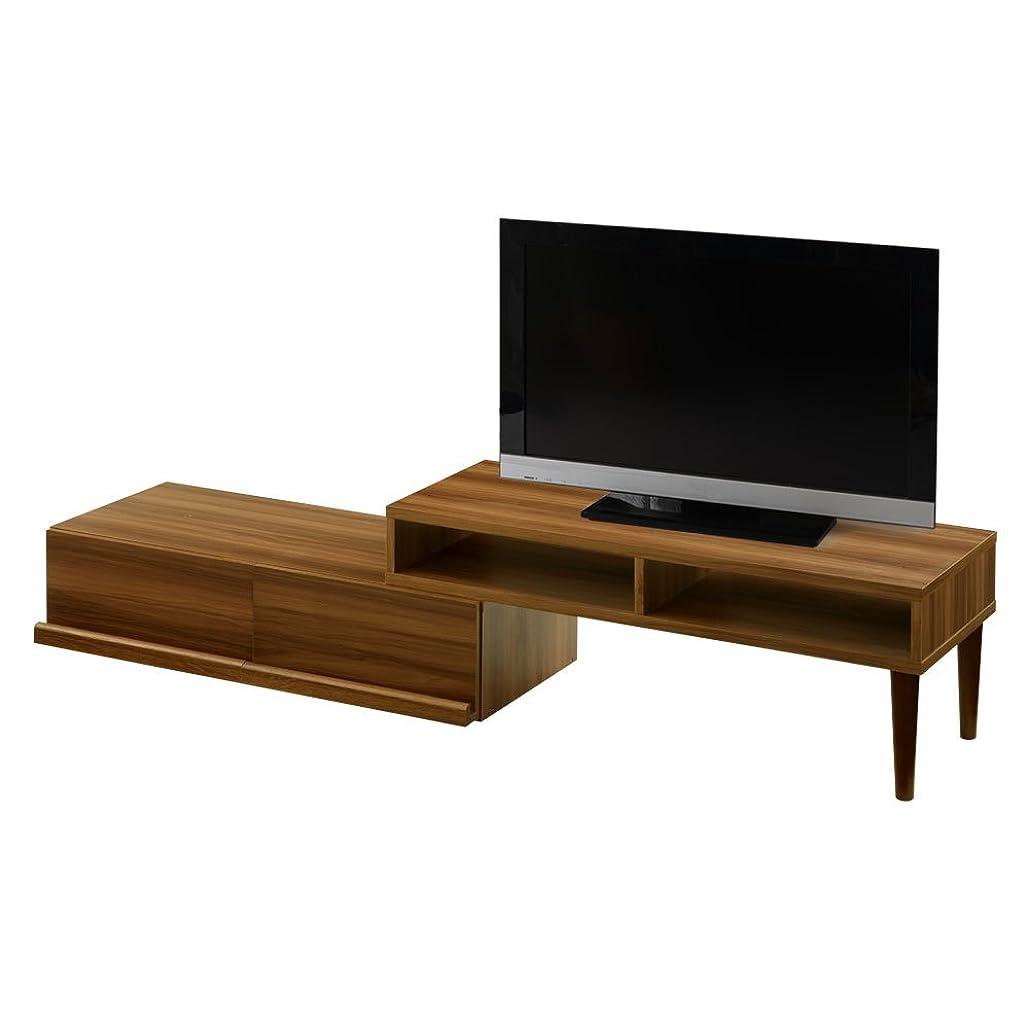 恋人成功したマートぼん家具 テレビ台 ローボード 伸縮式 42インチ対応 テレビボード L字 木製 ウォールナット