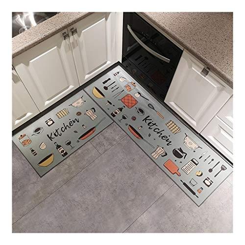 Carvapet 2 Piece Non-Slip Kitchen Mat Deken Deurmat Vintage Design Kitchen Carpet Deurmat Buiten Extra Duurzaam (Color : D, Size : 48 * 80cm+48 * 180cm)