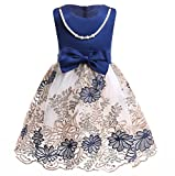 NSSMWTTC Baby Girls Embroidery Dress Toddler Kids Wedding Pageant Dresses with Necklace (Navy, 100)