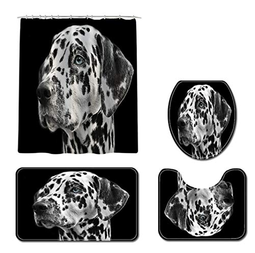 HOUZII Cortina de Ducha Juego de 4 Piezas Perro Mascota Cortinas de Ducha Baño Impermeable Antimoldes Lavable a Máquina Tejido de Poliéster Cortina Baño 180X180CM